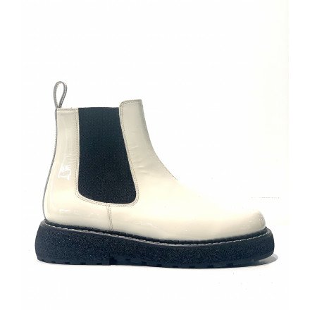 POLLY BOOTS COMPENSEES VERNIS BLANC FLAMINGOS
